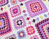 Crochet Pattern - Shabby Chic Granny Square Throw - PDF