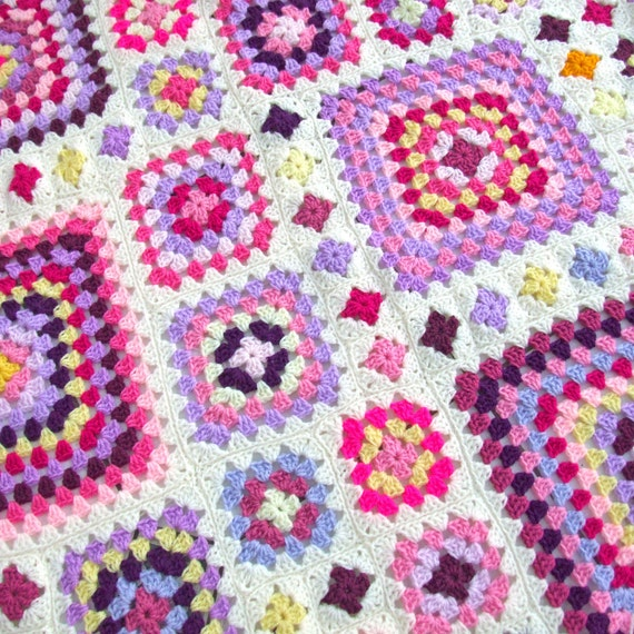 Crochet Pattern Shabby Chic Granny Square Throw PDF