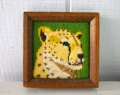 Framed Leopard Needlepoint