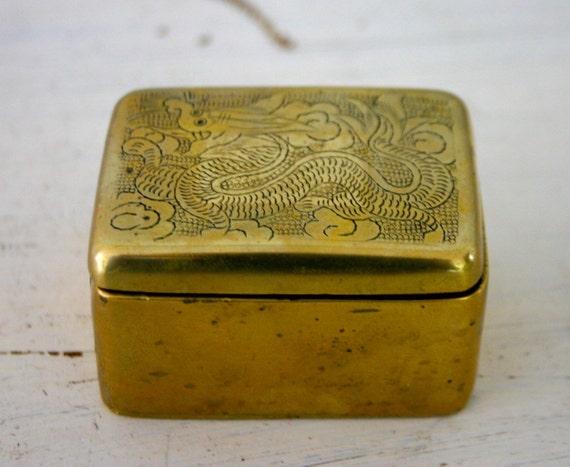 Vintage Brass Stamp Box