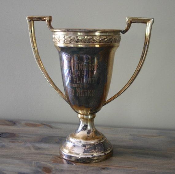 Engraved Silver Vintage Trophy Cup