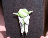 Yoda-inspired origami on glitter card