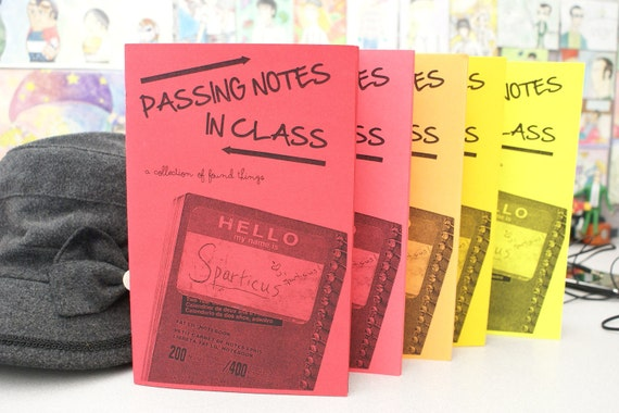 """Passing Notes in Class - """"found item"""" zine"""