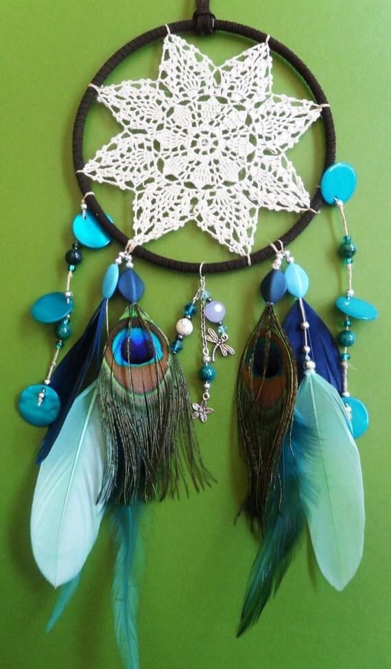 Dream Catcher - Dragonfly, Peacock - Doily - Modern - Blue, Green, White