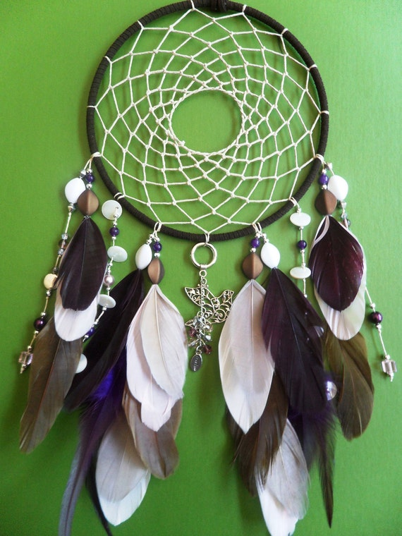 Dream Catcher - Freedom Dove - Pink and Brown - Boho - Beaded - Modern