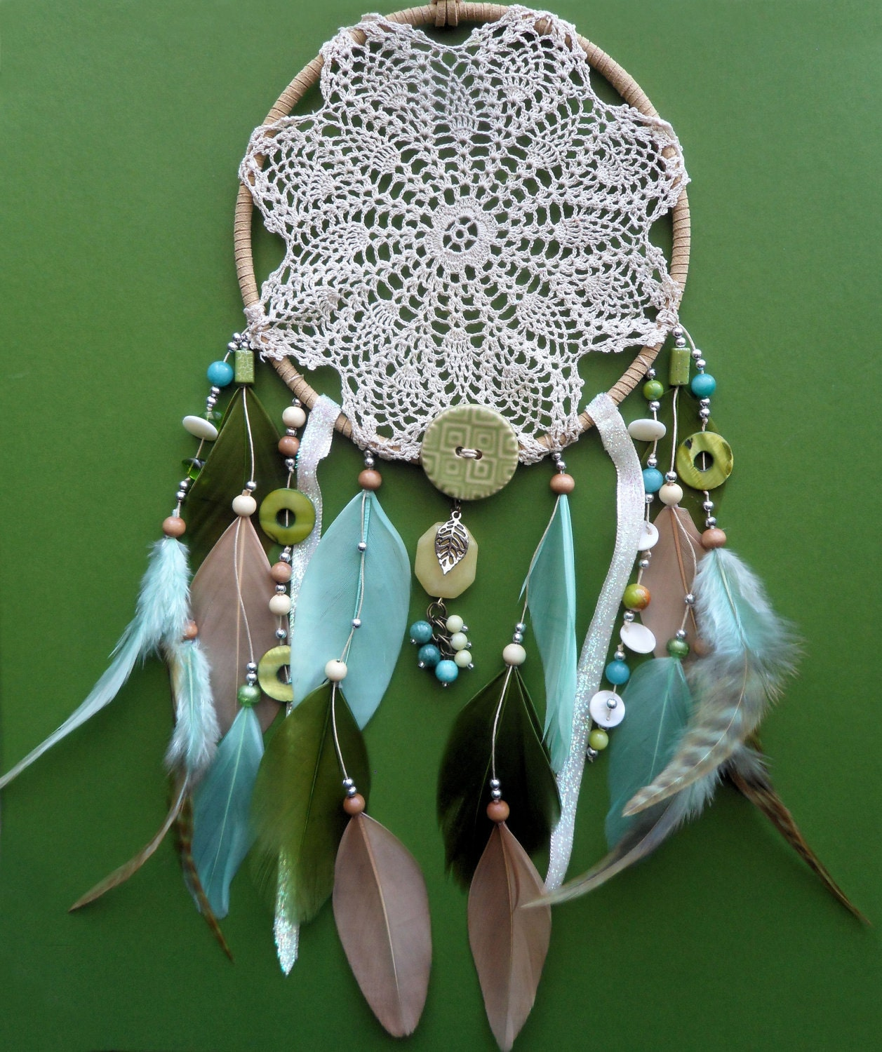 Pictures Of Dream Catchers: Dream Catcher Doily Unique Modern Beaded Green