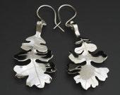 Oak Leaf Earrings (small), Argentium Silver