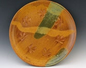Sale / Leaf Platter in golden brown and moss green - clearance
