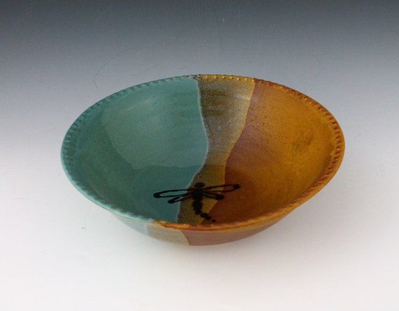 Dragonfly Serving Bowl in a blue and golden brown glaze