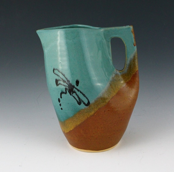 Clearance Sale - Dragonfly Stoneware Pottery Pitcher in a Turquoise and brown glaze