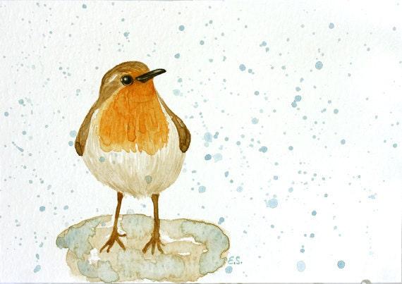 Robin under rain Original watercolor bird art Spring wall art