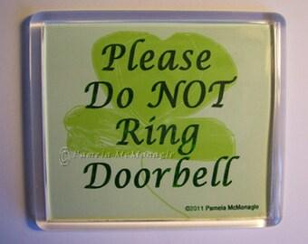 Do Not Ring Doorbell Sign Nurse Sleeping