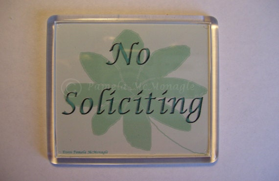 Easy Install No Soliciting Doorbell Sign