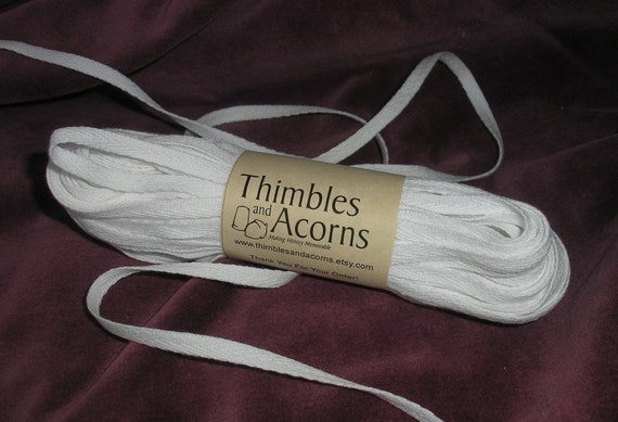 20 yards White 3/8 inch Cotton Twill Tape