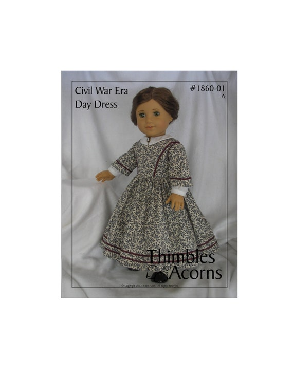 PDF Pattern for Civil War Era Day Dress 18 inch American Girl Doll