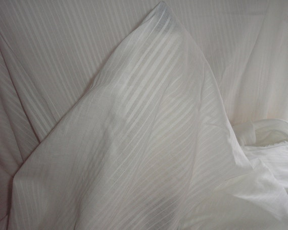 1 yard, 60 inch wide, White Semi Sheer Cotton Muslin with Woven Stripe