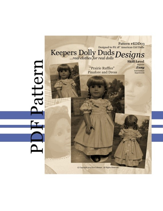 "PDF PATTERN ""Prairie Ruffles"" Pinafore & Dress- An Original KeepersDollyDuds Design Fits American Girl Doll, Developed By ThimblesandAcorns"