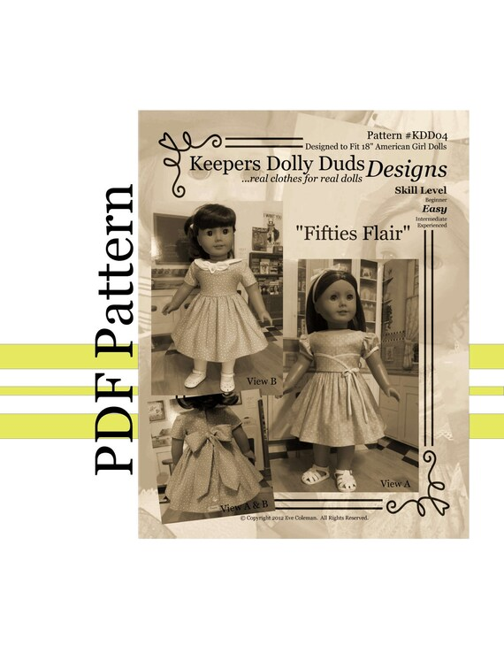 "PDF PATTERN ""Fifties Flair"" , 1950 Dress - An Original KeepersDollyDuds Design Fits American Girl Doll, Developed By ThimblesandAcorns"