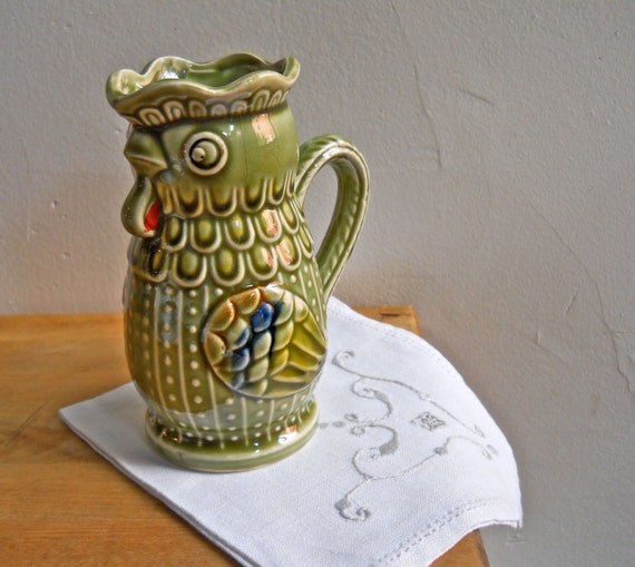 Green Rooster Ceramic Creamer