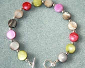 Dyed Mother of Pearl and Silver Beaded Bracelet