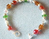 Crystal and Silver Holiday Beaded Bracelet