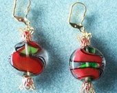 Lampwork Glass Holiday Earrings