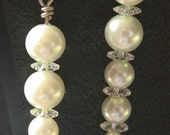 Glass Pearl and Swarovski Crystal Beaded Earrings