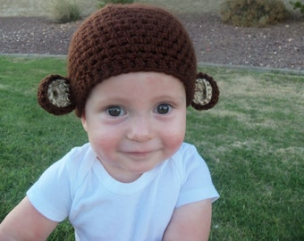 Newborn Custom Baby Handmade Crocheted Monkey Hat Photo Prop or Gift, approx 12""