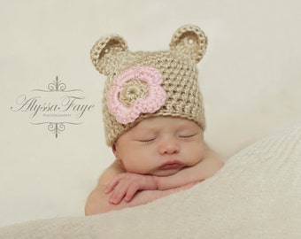 New Newborn Baby Bear Hat Tan Crochet With Pink Flower Great Photo Prop or Gift