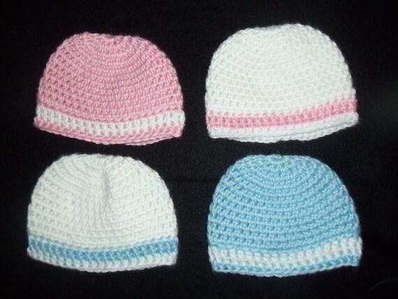 2 HATS Mix & Match Custom Handmade Crochet Baby Hats Twins, Triplet, Flower Optional, Photo Prop.