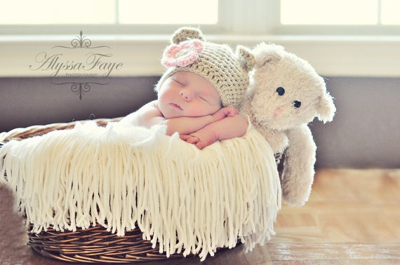 New Baby Bear Hat Tan Crochet With Pink Flower Great Photo Prop or Gift