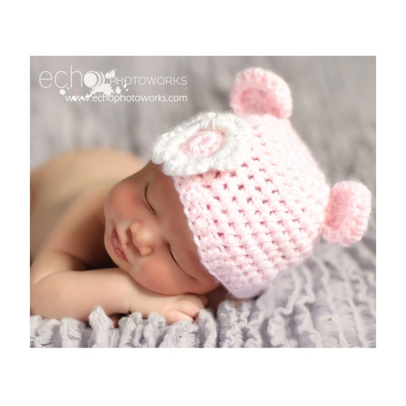 Baby Bear Hat Pink Crochet With White Flower Great for Photo Prop or Gift