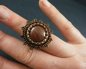 Chocolate Cherry  Bead Embroidery Adjustable Ring