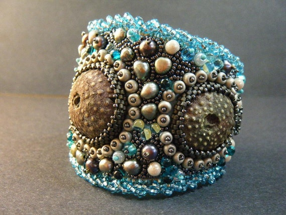 RESERVED FOR BS - The Urchins Are Coming bead embroidered cuff bracelet