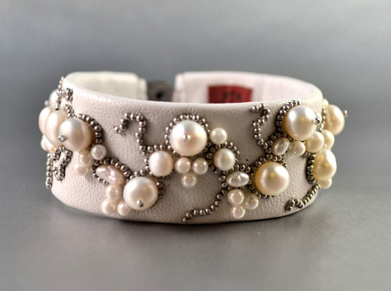 SALE - Simply Pearls Bead Embroidery White Sheepskin Bracelet -bead embroidered bridal bracelet