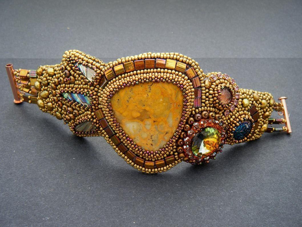 Golden age bead embroidery bracelet