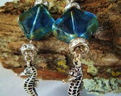 Nautical Blue Czech Glass Earrings with Silver Sea Horse Charms