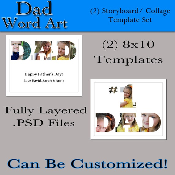 personalised word art template - items similar to dad word art 2 8x10 custom photo