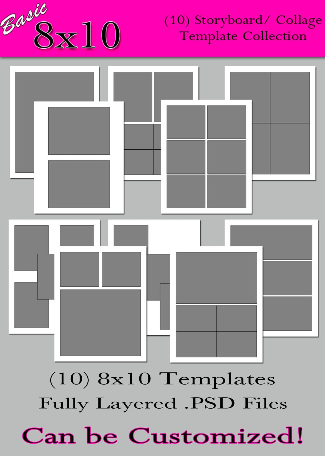 basic 8x10 collection 10 custom photo storyboard collage. Black Bedroom Furniture Sets. Home Design Ideas