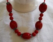 Hand Crafted Necklace Ruby Red Glass Bead Hand Made Necklace