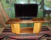 TV Stand Big Screen Cedar and Black Walnut