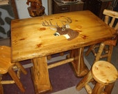 Pub Table Pine and Cedar with 14 Point Buck Burnt and Painted