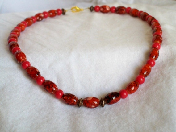 BIG SALE-Red Bead Choker,Red on Red, Red Glass Beads With Red Barrel Beads Choker