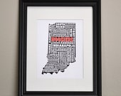 INDIANA HOOSIERS Cities Collage Print (Customize OR Choose Your Own State)