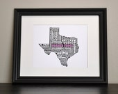TCU HORNED FROGS Texas Collage Print (Customize or Choose Your Own State)