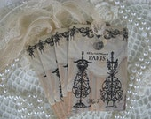 Vintage Shabby Paris Lace  Dress Form Gift Cards Hang Tags