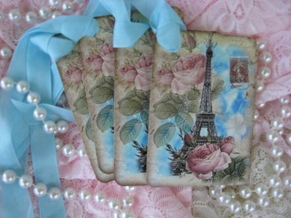 Shabby Chic Style Paris Pink Roses Gift Cards Hang Tags