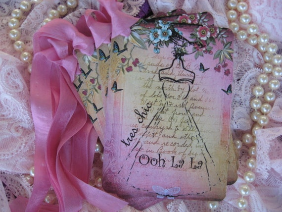 Tres Chic French Dress Collage  Gift Cards Hang Tags