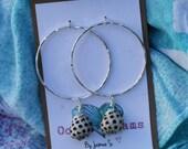 Silver Drupe Hoop Earrings