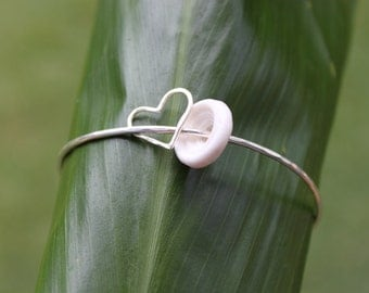 Puka Shell Bangle with Sterling Silver Heart